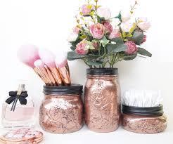 rose gold vanity table copper mason jar rose gold dressing table marble accessories rose