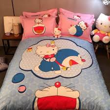 Printed Duvet Covers Hello Kitty Doraemon 3d Printed Bedding Set Bedclothes Bed Sheets