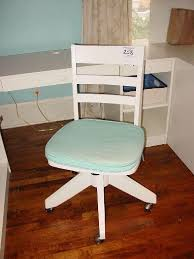 Pottery Barn Desk White Pottery Barn White Swivel Rolling Desk Chair With Blue Seat Cushion