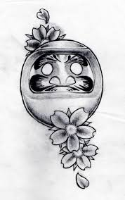 black and grey daruma doll with cherry blossom flowers tattoo
