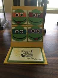 craft paper scissors ninja turtle birthday card