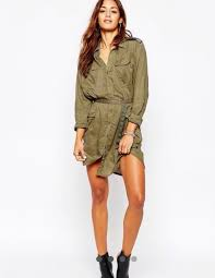 dress robe blouse military style army green safari camouflage