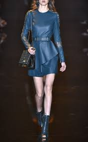 Leather And Lace Clothing Elie Saab Leather And Lace Long Sleeve Dress In Green Lyst