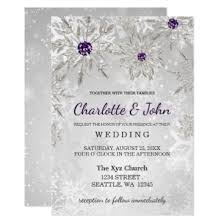 purple and silver wedding invitations silver purple snowflakes winter wedding invitation