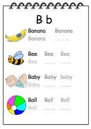 alphabet writing worksheet b