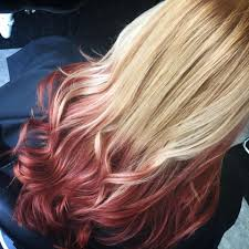 reverse ombre blonde to red i will go more subtle colors