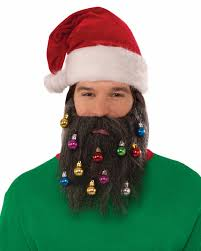 beard ornaments brown santa beard with christmas ornaments festive costume