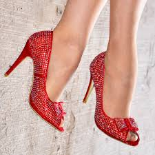 red diamante peep toe s with bow