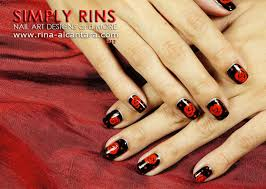 nail art red roses on black simply rins
