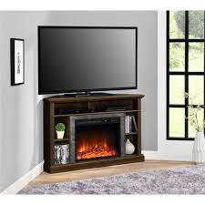 wooden corner tv stand with fireplace decofurnish also corner tv