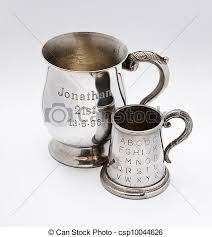 engraved keepsakes pair of engraved keepsakes a pair of tankards with stock photo