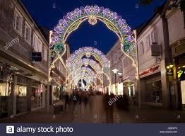 arches with lights in the pedestrian zone italian festival