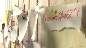 mot de cuisine note avec le mot de passe qwerty sur un mur en bois de cuisine