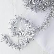 metallic silver tinsel garland garlands