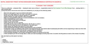 Front Desk Manager Hotel Hotel Assistant Front Office Manager Work Experience Certificate