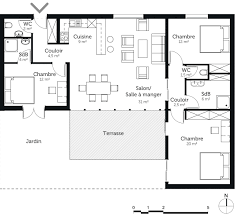 résultat de recherche d images pour plan maison 3 chambres plain