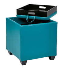 Leather Ottoman Storage Blue Color Square Leather Ottoman Coffe Table With Tray Table Top