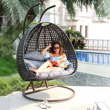 Swinging Patio Chair Amazon Com Luxury 2 Person Outdoor Hanging Chair With Stand By