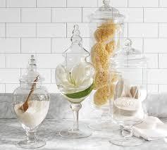 Bathroom Jars With Lids Pb Classic Glass Apothecary Jars Pottery Barn