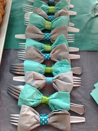diy baby shower ideas for boys bow tie napkins diy bow and utensils