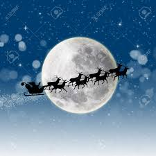 illustration of santa claus and his reindeer sleigh in silhouette