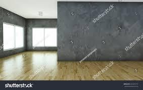 Laminate Flooring Concrete 3d Render Empty Room Laminate Flooring Stock Illustration