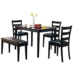 amazon com coaster 5pc dining table chairs u0026 bench set