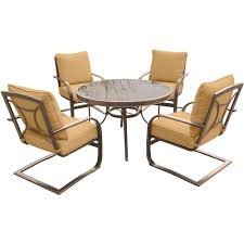 Circle Glass Table And Chairs Hanover Traditions 5 Piece Aluminum Outdoor Dining Set With Round