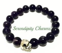 metal bead bracelet images Amethyst with skull metal bead bracelet serendipity charms jpeg