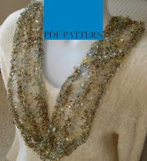 ladder ribbon pattern for knit moebius scarf of ladder ribbon yarn with