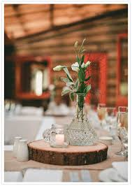 wood log vases rustic wood log slice and simple vase centerpiece