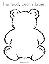 teddy bear outline the teddy bear is brown coloring page twisty