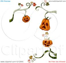 clipart of a border of halloween jackolantern pumpkins hanginf