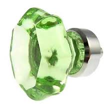 1 3 8 inch depression green glass octagon old town cabinet knob