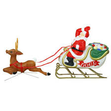 christmas lighted decoration santa sleigh reindeer blow molded