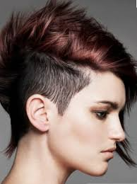 short hair over ears longer in back trendy punky women hairstyle with extrem short hair length on the