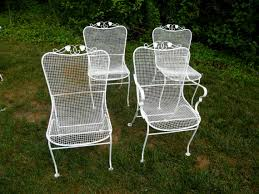 mesh wrought iron patio furniture woodard mesh wrought iron garden chairs set of by assemblage333