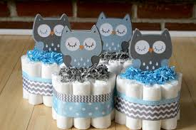 3 tier blue and gray owl diaper cake blue gray owl baby