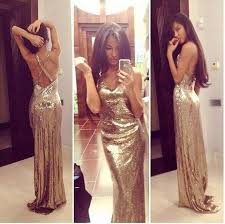 long gold sequins backless mermaid prom party dress v neck formal