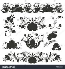 russian ornaments gzhel style painted stock vector 735685912