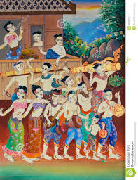 art thai painting on wall in temple stock photography image