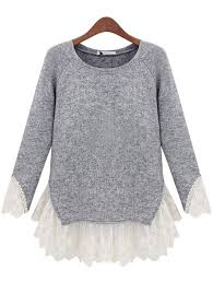 sweater with sleeve knit sweater top with lace brand grey