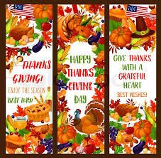 happy thanksgiving day banner set autumn season harvest