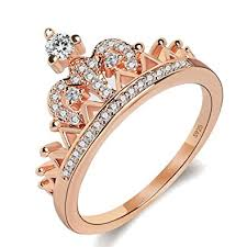 gold promise rings women s crown tiara rings exquisite 18k gold plated