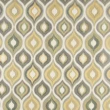 Blue Damask Upholstery Fabric Green Grey White And Gold Teardrop Pattern Contemporary Brocade