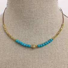 gold beaded necklace images Gold bead and turquoise beaded necklace kelly and rose boutique JPG