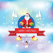 santa claus on greeting card holding gift box presents