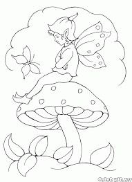coloring page elf on the mushroom