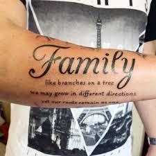 jet black ink family saying forearms tatoo