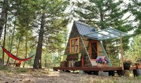 solar powered a frame cabin features a retractable wall